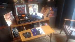 The Long Play cafe's shrine to David Bowie.