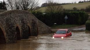 Flooding at Packhorse Bridge in Moulton, Newmarket