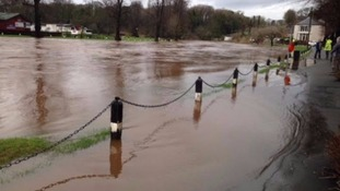 The River Eden bursts its banks at Appleby