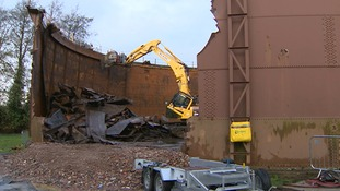 The gas holder or gasometer in Bury St Edmunds is being demolished.