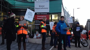 The picket line gathering outside the Bristol Royal Infirmary