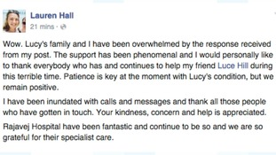 Post from the Facebook page of Lauren Hall