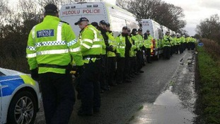 A picture posted to the Frack Off (UK) Facebook page showing police preparing to move in.