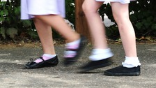 A general photo of school girls walking