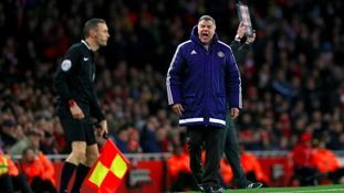 Sunderland manager Sam Allardyce shouts at the referees assistant from the touchline during the FA Cup, third round game against Arsenal.