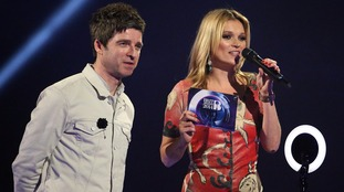 Noel Gallagher and Kate Moss accepted David Bowie's award for Best Male Solo Artist at the Brit Awards in 2014.