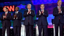 Republican hopefuls Marco Rubio, Dr Ben Carson, Donald Trump, Ted Cruz and Jeb Bush.