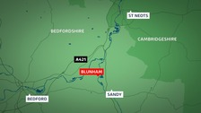 Firefighters are tackling a major fire at a coach workshop in Blunham, Bedfordshire.