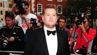 Entertainer and television presenter James Corden arrives at the bash.