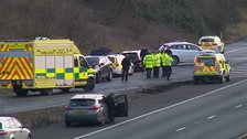 The M11 near Cambridge has been closed for more than nine hours following a car fire in which a man died.