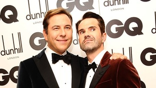 David Walliams (left) and Jimmy Carr attend the awards.