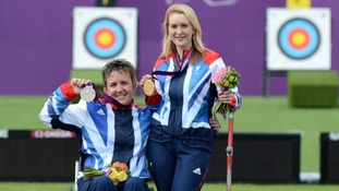 Mel Clarke (left) and Danielle Brown (right) celebrate at the Royal Artillery Barracks in London.
