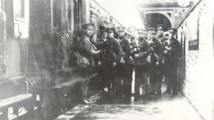 Heading for war: Soldiers on Peterborough station during the First World War.