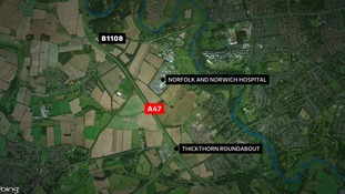 The A47 eastbound carriageway remains closed between the B1108 and the Thickthorn Roundabout.