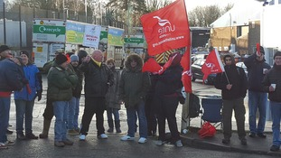 The recycling workers are striking two days a week