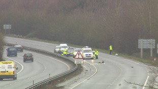 The A47 eastbound carriageway was closed for much of the morning.