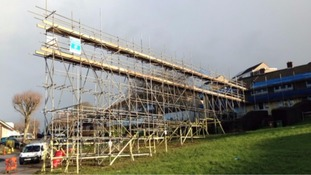 Scaffolding which spans 60ft has been erected in Eglin Crescent, Plymouth, for roof repairs has baffled residents.