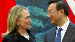 US Secretary of State Hillary Clinton speaks with Chinese Foreign Minister Yang Jiechi