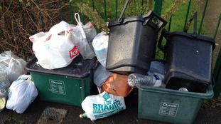 Recycling waiting for collection in Odd Down