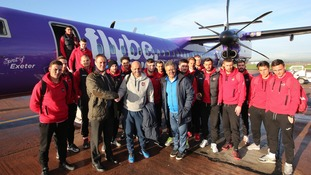 The Grecians travelled back to Exeter yesterday meeting with Flybe officials when they touched down.