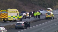 The M11 near Cambridge was closed for more than nine hours.