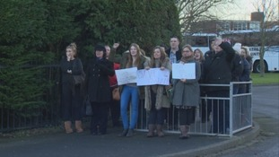 Protesting parents at Eskdale School.