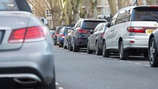 Cars parked on a residential street