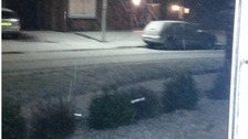 Snow in Stowmarket, Suffolk on Thursday evening.