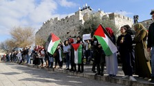 Palestinians take part in a protest just outside Jerusalem's Old City