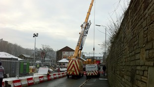 Construction at the new Elland pedestrian bridge today