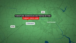 Warehouse fire at Stanway, Essex.