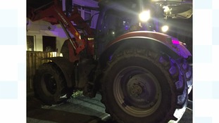 The stolen tractor abandoned in Wisbech.