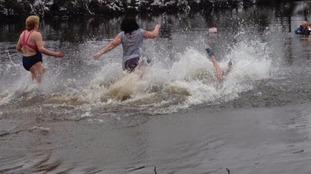 The women's race at Lee Dam swim