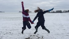 Fun in the snow in Northamptonshire.