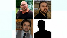 Freed prisoners Jason Rezaian, Saeed Abedini, and Amir Hekmati (left to right)