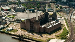 Aerial view of Battersea Power Station.