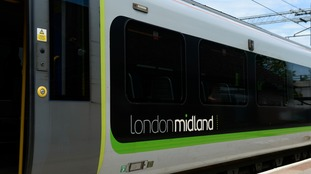 A London Midland train at Tile Hill train station in Coventry