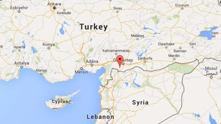 The map marks the Turkish province of Kilis, close to the Syrian border, where the blast occurred.