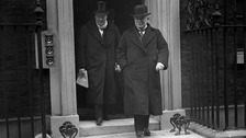 Prime Minister David Lloyd George and Winston Churchill leaving 10 Downing Stree