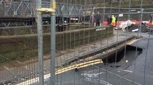 Elland bridge which was damaged during the recent floods