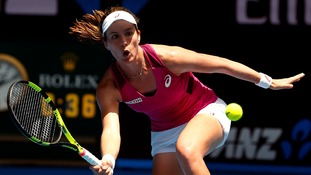Britain's Johanna Konta hits a shot during her first round match against Venus Williams of the U.S.