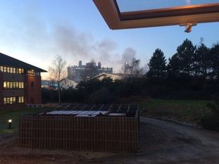 Smoke rising above Swindon College