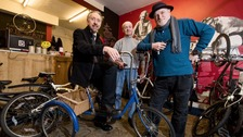 Left to right, Glynn Stevenson, Frank Maddocks and Stephen Faragher inside the bike shop