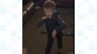 The moment was captured on James' camera who was filming his son just before he stood up on his own.