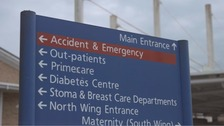 A&E sign at Royal Glamorgan Hospital