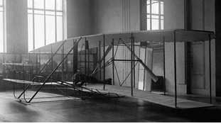 The first aeroplane that ever made a sustained flight - a biplane built by the brothers Wright