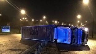 Lorry crashed on its side