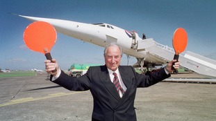 Concorde's first test pilot Brian Trubshaw at Filton, 30 years after he flew the aircraft on its maiden flight from Filton to Fairford