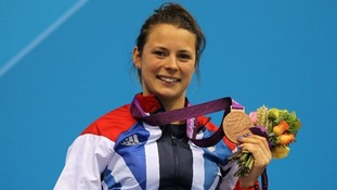 Johnson celebrates her bronze medal success