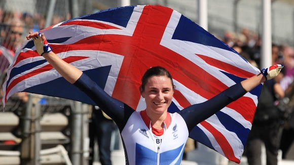 Great Britain's Sarah Storey celebrates after winning the Women's Individual C5 Time Trial at Brands Hatch, Kent.
